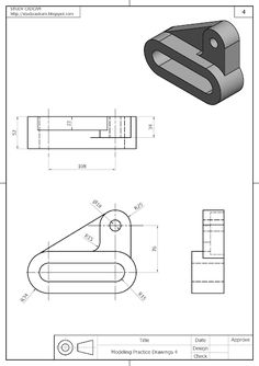 Modeling Practice Drawings 4 In This Tutorial we make Modeling Practice Drawings 4 in Solideworks. Isometric Sketch, Autocad Isometric Drawing, Mechanical Engineering Design, Mechanical Design, Isometric Drawing Exercises, Cad 3d, Orthographic Drawing, Solidworks Tutorial, Interesting Drawings