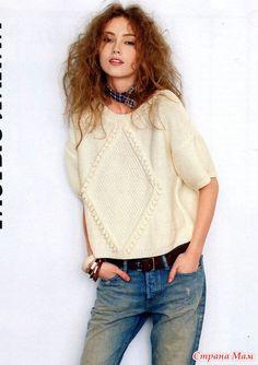 Пуловер с ромбом. Спицы.