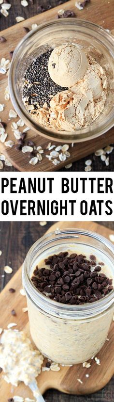 This Peanut Butter Overnight Oats Recipe is such an easy breakfast and takes less than five minutes to put together!