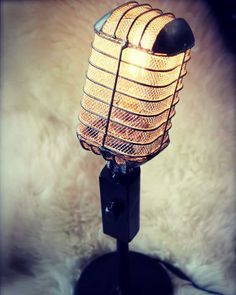 Amazing #desk #lamp made from an #upcycled #mic love it! #recyclart