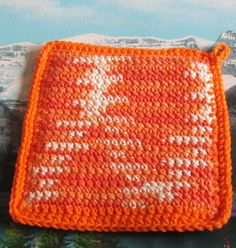 0436 Hand crochet double thick cotton hot pad 7 by 7 by LandLCandlesandCraft on Etsy