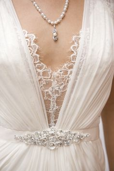 """Jenny Packham's """"Aspen"""" gown with custom Rosefire Swarovski crystal & pearl necklace"""