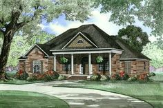 Southern Style House Plans - 2556 Square Foot Home , 1 Story, 4 Bedroom and 3 Bath, 3 Garage Stalls by Monster House Plans - Plan 12-446