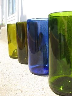 Reclaimed / Recycled Wine Bottle Tumbler Set by CarrollCreekGlass, $45.00