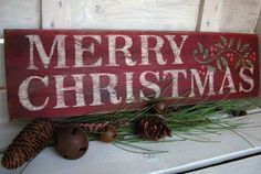 Merry Christmas Sign with Holly and Berries by FarmhouseHomeDecor