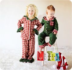 Sweet Dreams Button-Up PJ Set: 3 mos. - 12 years: Peek-a-Boo Pattern Shop Button Up Pajamas, Red Pajamas, Boys Sewing Patterns, Sewing For Kids, Pdf Patterns, Sewing Ideas, Clothing Patterns, Pattern Ideas, Baby Patterns