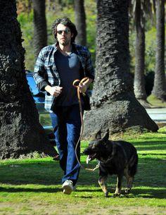 Ben Affleck took his German Shepherd on a walk in Brentwood in January 2012.