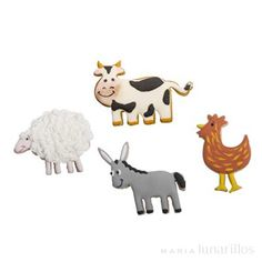 Set de 4 cortadores de plástico con temática de animales de la granja: vaca, gallo, oveja y burro. Son perfectos para cortar y decorar galletas con pasta de azúcar, pasta de goma, masa de galletas... Molde, Cookie Cutters, Sugar Pie, Cow