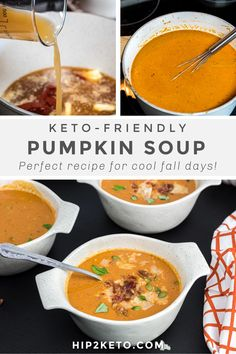This delicious keto-friendly pumpkin soup will warm you up on a cool fall day with all of its rich savory spices and sweet pumpkin goodness! #keto #lowcarb #pumpkin #pumpkinsoup #souprecipes #ketorecipes #soup