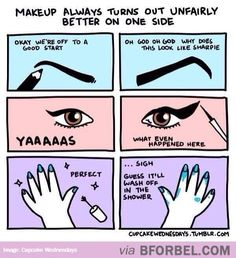 The winged eyeliner is especially true