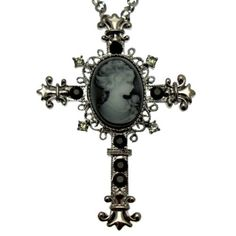 Acosta - Large Victorian Inspired - Black Crystal Cameo Cross Necklace