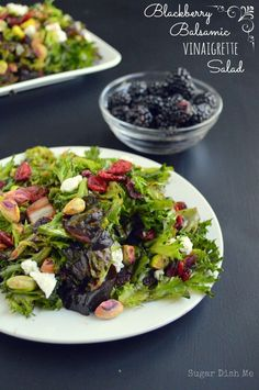 Tangy and slightly sweet dressing made of balsamic vinegar and fresh blackberries. This recipe includes a salad with pistachios and goat cheese.