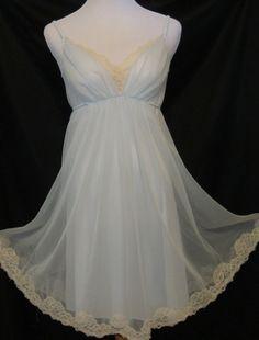 Vintage Shadowline Nightgown Sm Petite Powder Blue Chiffon, Lace Trim, Sweet  #Shadowline