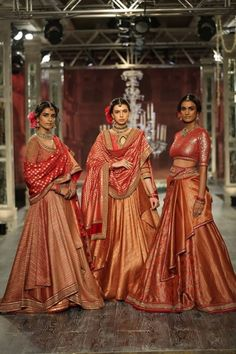 Tarun Tahiliani Bridal & Couture Collection 2016 at ICW Indian Dresses, Indian Outfits, Indian Clothes, Ethnic Outfits, Desi Clothes, India Fashion, Asian Fashion, Ethnic Fashion, Orange Lehenga