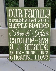Blended Family Customized Sign  hand painted wooden by SignedbyMe