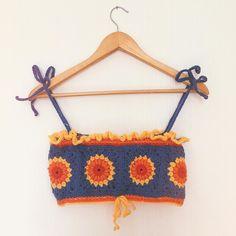 Tops A Crochet, Crochet Crop Top, Diy Crochet, Crochet Crafts, Crochet Projects, Crochet Bikini, Sewing Projects, Crop Top Pattern, Sewing Patterns