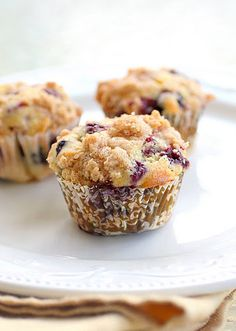 Blueberry streusel muffins. The batter and topping are really good but something about the fresh blueberries really doesn't do it for me...I feel like you need something to sweeten them up a little...