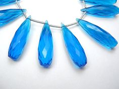 Blue Hydro Quartz Gemstone Faceted Long Drops 2830mm. by luxbeads, $7.90