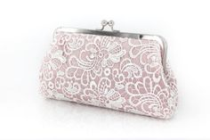 Blush Pink Old Rose Flower Lace Clutch