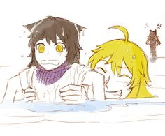 Li Belladonna&Yang Xiao Long- Don't think cats and water mix though :) Dc Anime, Rwby Anime, Rwby Fanart, Anime Kiss, Akuma No Riddle, Rwby Yang, Rwby Blake, Rwby Bumblebee, Rwby Volume