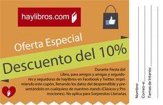 Cupón promocional para los stand de #HayLibros en la #FiestaDelLibro