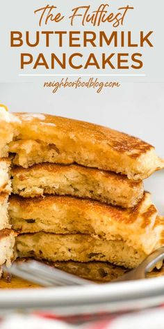 Make suuuper fluffy, diner style Buttermilk Pancakes at home with this easy pancake recipe!