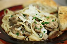 Pasta with Mushroom Garlic Sauce - use a variety of mushroom and exchange a small amount of the butter with Philly creme cheese with chives for a richer taste!