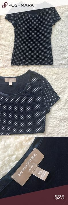 NWOT: Banana Republic T-Shirt, Blue Polka Dot XS. Banana Republic, luxe touch, size XS, tee shirt. Navy blue with white polka dots. Extremely soft and comfortable. Never worn. Banana Republic Tops Tees - Short Sleeve