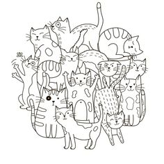 Illustration about Circle shape pattern with cute cats for coloring book. Illustration of drawn, many, doodle - 71736191 Pattern Coloring Pages, Cat Coloring Page, Coloring Book Pages, Coloring For Kids, Free Coloring, Gato Doodle, Doodle Art, Mindfulness Colouring, Free Vector Graphics