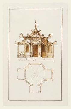 A Chinoiserie Garden Temple designed and drawn by William Kent, made circa 1730 to 1735.