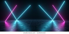 Futuristic Sci Fi Blue And Purple Neon Tube Lights Glowing In Concrete Floor Room With Reflections Neon Tube Lights, Blue Neon Lights, Neon Purple, Neon Stock, Fond Design, Church Stage Design, Aesthetic Light, Best Background Images, Studio Interior