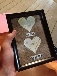 cute. maybe use photos of places in the hearts of first date, first kiss, proposal, wedding, and first home together.
