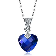 Collette Z Sterling Silver dark blue Heart Cubic Zirconia Pendant ($17) ❤ liked on Polyvore featuring jewelry, pendants, necklaces, blue, cz jewellery, sterling silver jewelry, cz pendant, cz heart pendant and heart pendant