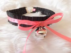 Black Ruffled Pink Ribbon Cosplay Anime Maid Choker Cat Bell Collar Necklace Kitty Neko Slave BDSM Japanese Costume Lolita Kawaii Valentines...