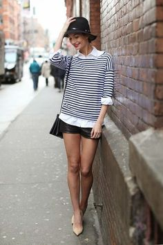 Best Celeb Snaps: Lily Aldridge Street Style Vintage Hat, Striped Top & Shorts
