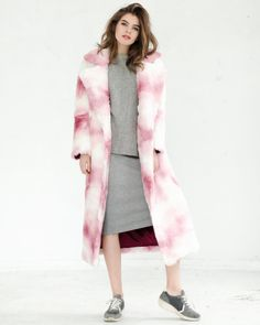 White and pink faux fur coat
