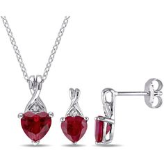 Womens 2-pc. Red Ruby Sterling Silver Jewelry Set ($220) ❤ liked on Polyvore featuring jewelry, ruby jewelry set, red jewellery, set jewelry, ruby red jewelry and red jewelry sets