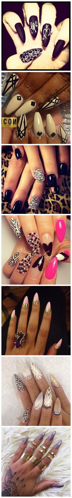 Nail Art Designs - Get Creative Sexy Nails, Hot Nails, Fancy Nails, Stiletto Nails, Hair And Nails, Black Nails, Fabulous Nails, Gorgeous Nails, Pretty Nails