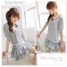 Gray V Neck Japan and South Korea all lined dress style dress - casual and sweet