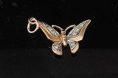 Vintage 14k Gold Butterfly Diamond Pendant by EtsyClassic on Etsy, $140.00