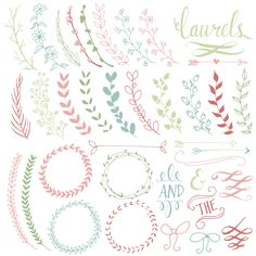 Pretty Laurels & Wreaths Clip Art // Hand Drawn by thePENandBRUSH