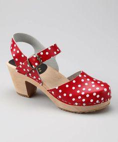 #Cape Clogs Red & White Polka Dot Closed-Toe Sandal