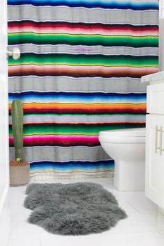 diy serape shower curtain