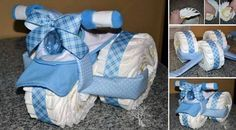 Tricycle Made Out Of Baby Diapers - great for a baby shower - #babyshower