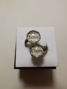 Outlander Jamie and Claire double stone ring made using Actual Book Pages ~ by LilShopofHodgePodge