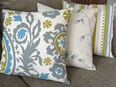 """Set of Three 18"""" x 18"""" Decorative Pillow Covers, Suzani Print, Stripes  Light Olive, Gray, Blue and Natural. $54.00, via Etsy."""