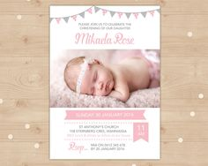 Girls Christening invitation with bunting // I customise for you to print // Personalised with photo // pink and grey bunting Baby Girl Baptism, Baptism Party, Girl Christening, Baptism Ideas, Dedication Ideas, Baby Dedication, Christening Invitations Girl, Harry Birthday, Diaper Invitation Template