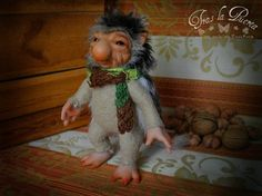 Piwy the porcupine. Forest creature. Fantasy Art doll. Pixie, Hob, Fae, Faery. Ooak Art Doll One of a Kind Fantasy Sculpture