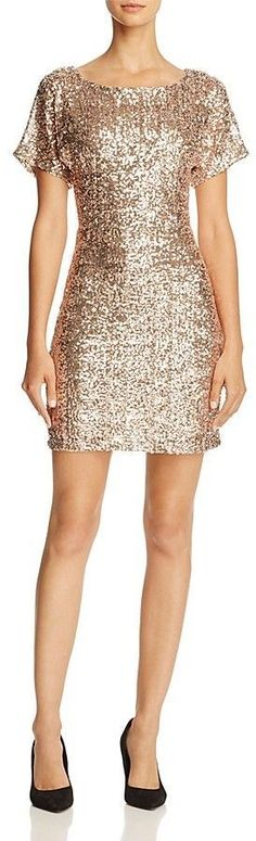 Molly Bracken Flutter-Sleeve Sequin Dress    A dramatic back teardrop cutout and flutter sleeves infuse an alluring, flirtatious tone into this high-shine, sequined cocktail style from Molly Bracken. Affiliate