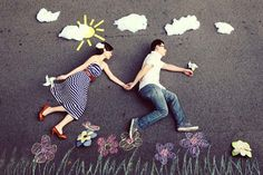 Creative Photo Shoot Themes | with chalk paintings and props as the photographer shoots from up high ...